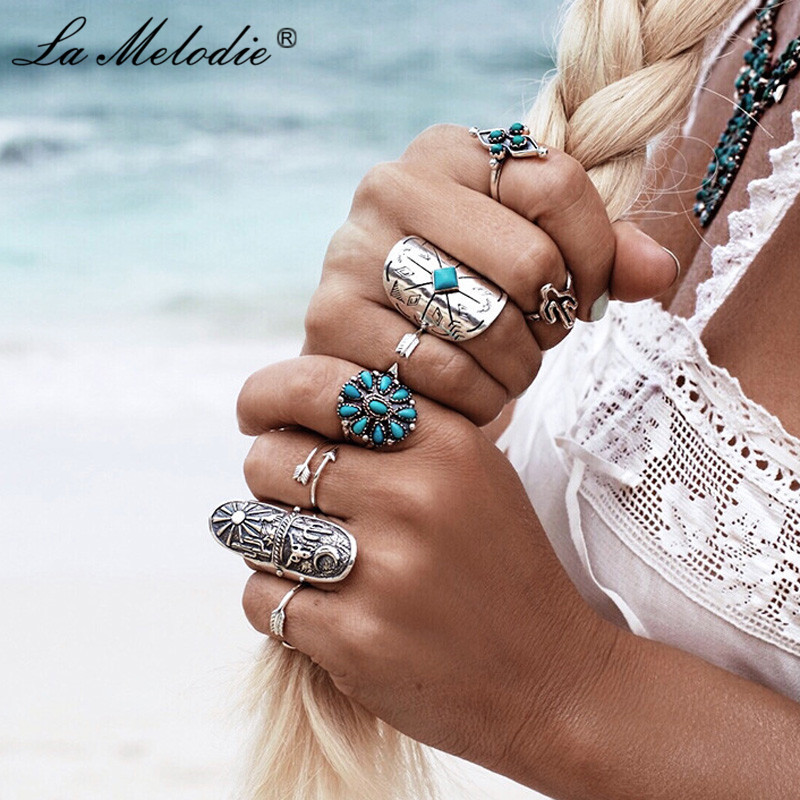 New Bohemia Midi Rings Sets For Women Retro Antique Silver Alloy Turquoises Knuckle Ring