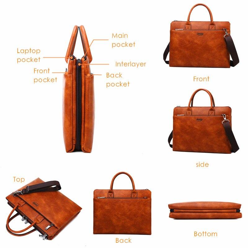 지프 buluo 고품질 남자 서류 가방 14 인치 노트북 비즈니스 여행 가방 핸드백 가죽 사무실 어깨 가방 남자에 대 한-에서서류 가방부터 수화물 & 가방 의  그룹 3
