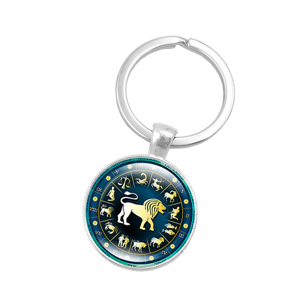 SUTI 12 Constellation Jewelry Key Chains Zodiac Signs Keychain Key Rings Bag Car Round Glass Cabochon Pendant Man Woman Gift