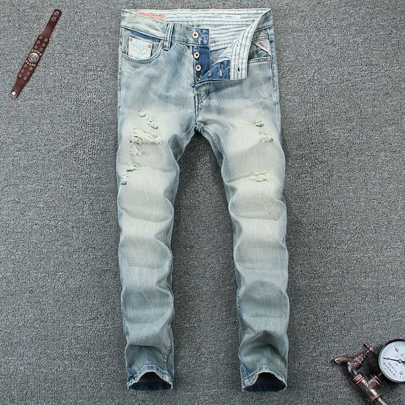 купить Light Blue Color Denim Men Jeans High Quality Italian Style Washed Skinny Biker Jeans Mens Pants Buttons Destroyed Ripped Jeans недорого