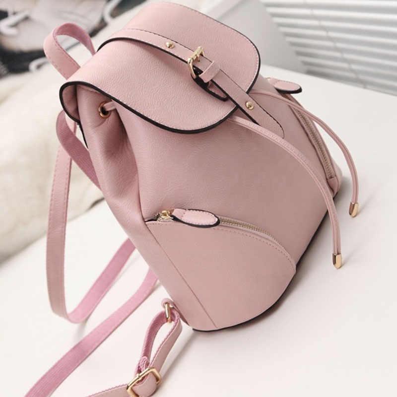 03a0a4ce5 ... Women Pink Backpack Vintage PU Leather Backpacks School Bag For Teenage  Girls 2019 Large Black Rucksack ...