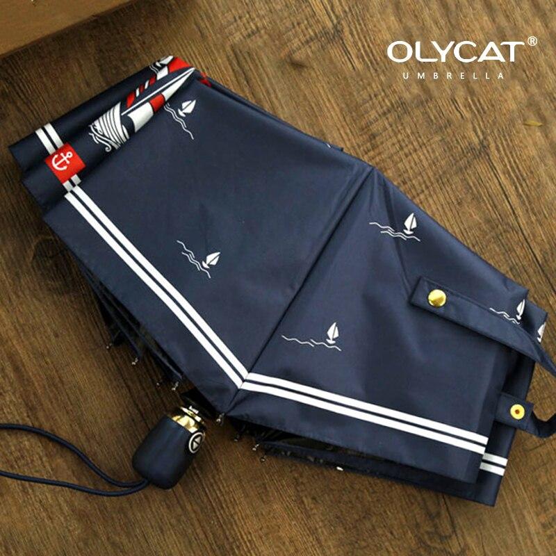 Olycat Marque Pliant Femmes Parapluie Voilier Style Entièrement Automatique Marque Pluie Parapluies En Aluminium Coupe-Vent 8 K Marine Parasol
