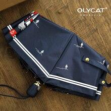 Olycat Women Automatic Umbrella Sunscreen Sailboat Style Three Folding Rain Aluminum Windproof 8K Navy Paraguas