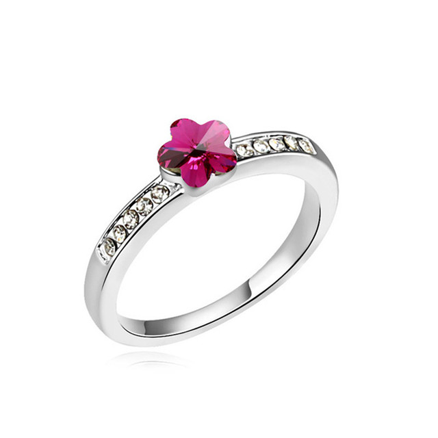 08811ad6540d US $8.99 |Beautiful Flower Rings Crystal from Swarovski Simple Statement  Elements Ring for Woman Trendy Casual Lady Jewelry Accessories-in Rings  from ...