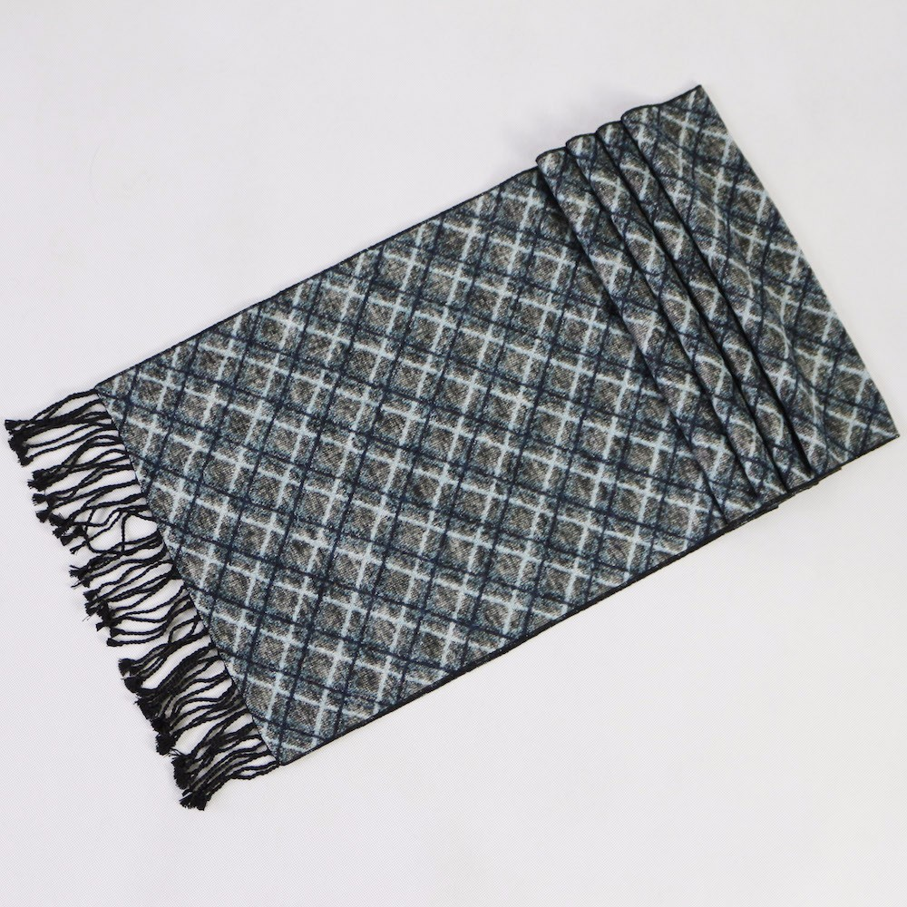 Black Blue Warm Silk Scarf | Men's Scarves | Up to 60% Off Now