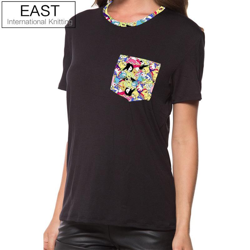 730d0c794 East knitting h869 2017 verão nova senhoras tempo aventura camisetas preto  Marca de Moda T Shirt Mulheres T-shirt Plus Size Tops Tee