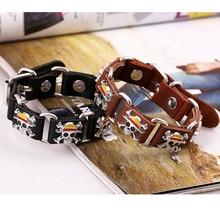 One Piece Punk Pirate Skeleton Leather Bracelet
