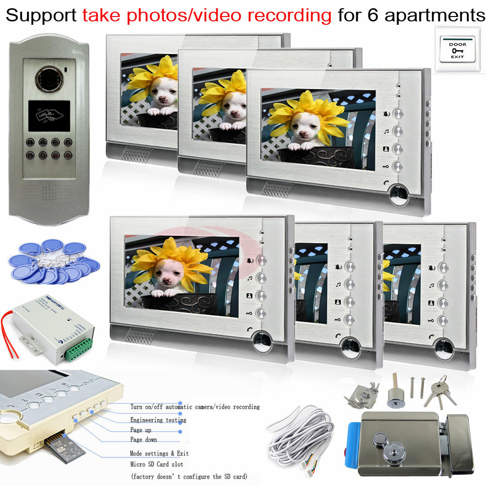 SD Card Photo Memory Indoor Unit+ RFID 700lines CCD Outdoor Camera Video Phone Intercom System For 6 Apartments+E-Lock original sd memory card cover for nikon d7100 d7200 camera replacement unit repair part