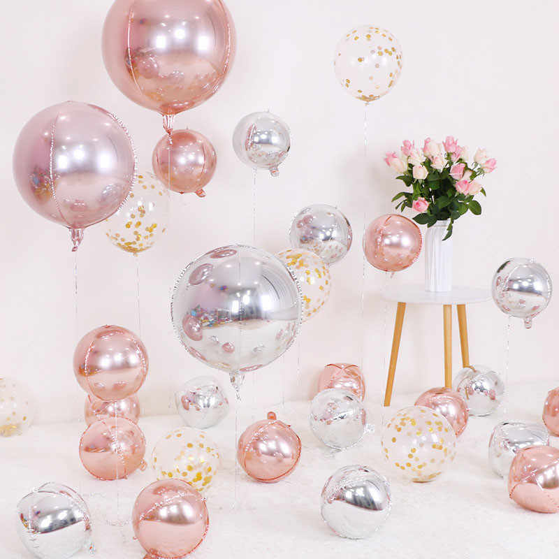 6pcs Gold/Rose 4D Balloon Large/Mini Round Sphere Shaped Foil Balloons Birthday Party Wedding Baby Shower Decoration Background