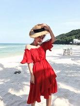 68384fcc87546 Bahar yaz elbisesi Kadın 2019 Giysi Kırmızı Şifon Seksi Plaj Parti Elbise  kadın elbiseleri Vintage Elbise