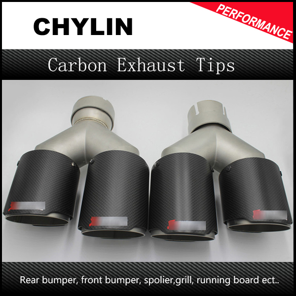 2Pcs ID 63mm (2.5) OD 89mm (3.5) dual Stainless Steel Akrapovic Carbon Fiber Car Exhaust Tip car-styling