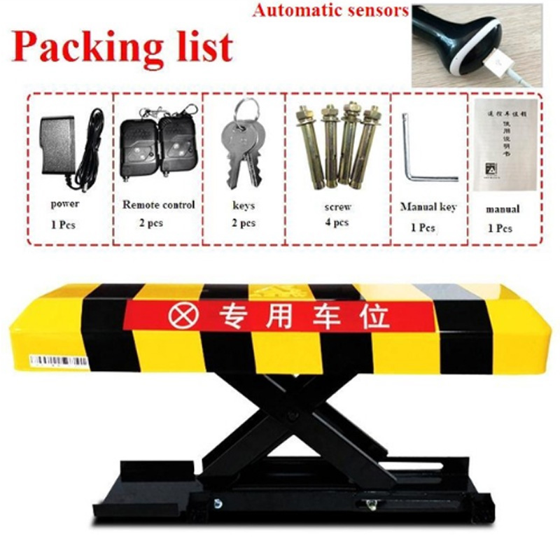 Vehicle-sensing automatic parking barrier with 2 remote controls - Battery - Parking (without battery) Parking column bollardVehicle-sensing automatic parking barrier with 2 remote controls - Battery - Parking (without battery) Parking column bollard
