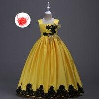 Das crianças Pageant Cetim Preto e Amarelo Vermelho Verde Azul Formais crianças Da Menina de Flor vestido de Baile Vestidos de Baile para a Menina Elegante vestidos