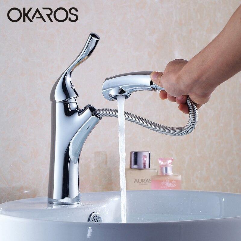 OKAROS salle de bains bassin robinet robinet d'eau tirer buse de pulvérisation en laiton massif poignée unique robinet d'eau chaude froide mélangeur Torneira Cozinha