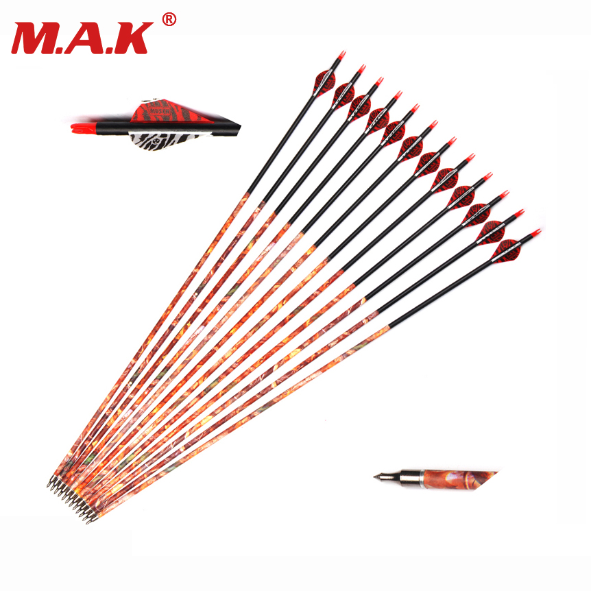 6/12/24 pcs Mixed Carbon Arrow 30 Inches Spine 500 Diameter 7.8mm with Replaceable Arrowhead for Recurve Bow Hunting Shooting