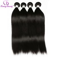 Trendy Beauty Hair Brazilian Straight Human Hair Weave Bundles Non Remy Hair Natural Black Color 3