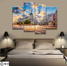 Hot Sales Without Frame 5 Panels Picture Sunset City Scenery Painting Artwork Wall Art Canvas Wholesale