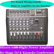 Pro 6 Channel Live Studio Audio Mixers Mixer Mixing Console 800W Power Amplifier