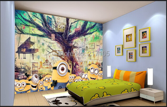 Custom baby wallpaper despicable me little yellow man for children room living room with TV setting wall 3D wallpaper custom baby wallpaper snow white and the seven dwarfs bedroom for the children s room mural backdrop stereoscopic 3d