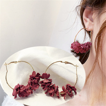 New Arrivals Fashion Petal Combination Geometric Big Circle Hoop Earrings Women Jewelry