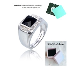 factory direct sell bezel setting bigger black cubic zircon stone silver s925 mens rings jewelry