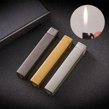 Square Prismatic Cube Long Strip Metal Inflatable Gas Lighter Portable Cigarette Refillable Butane