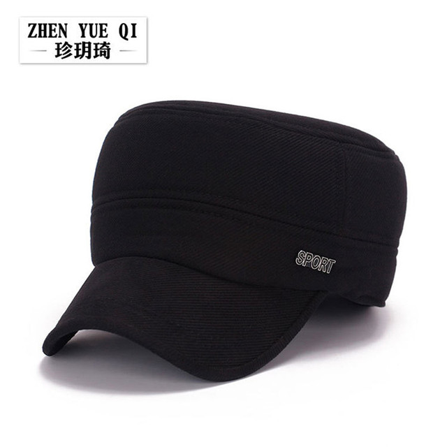fe8f88ae Simple Design Men Flat Top Baseball Cap With Ear Winter Army Navy Warm  Solid Color Adjustable