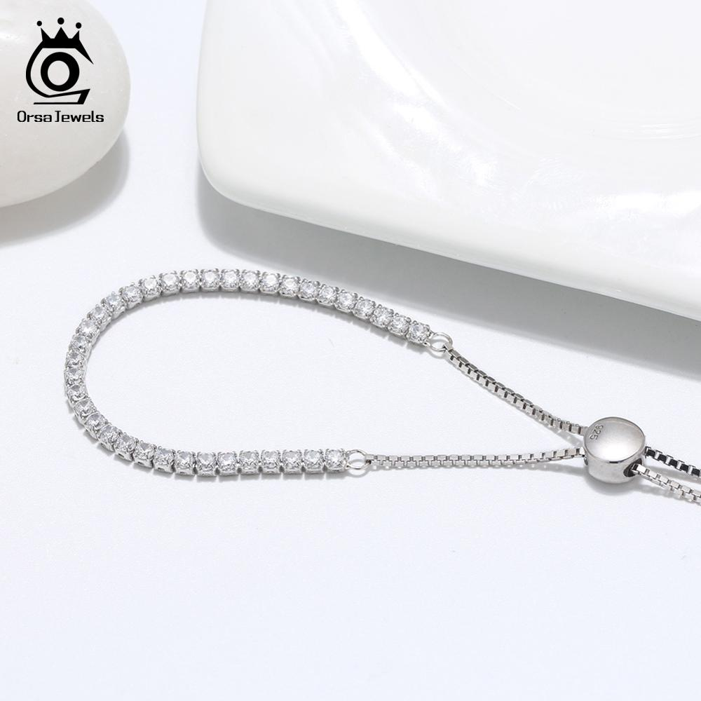 ORSA JEWELS Real 925 Adjustable Bracelet With Single Row Transparent ZirconSterling Silver Chain Dating Collocation Jewelry ORSA JEWELS Real 925 Adjustable Bracelet With Single Row Transparent ZirconSterling Silver Chain Dating Collocation Jewelry SB43