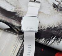 ניו אופנתי מירור LED תאריך דיגיטלי ספורט שעונים סיליקון שעון לבן