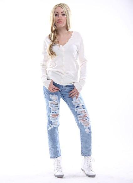 A Forever осень зима женские топы короткие вязаные свитера и пуловеры Свободная трикотажная одежда Повседневный свитер кардиган af816 - Цвет: White