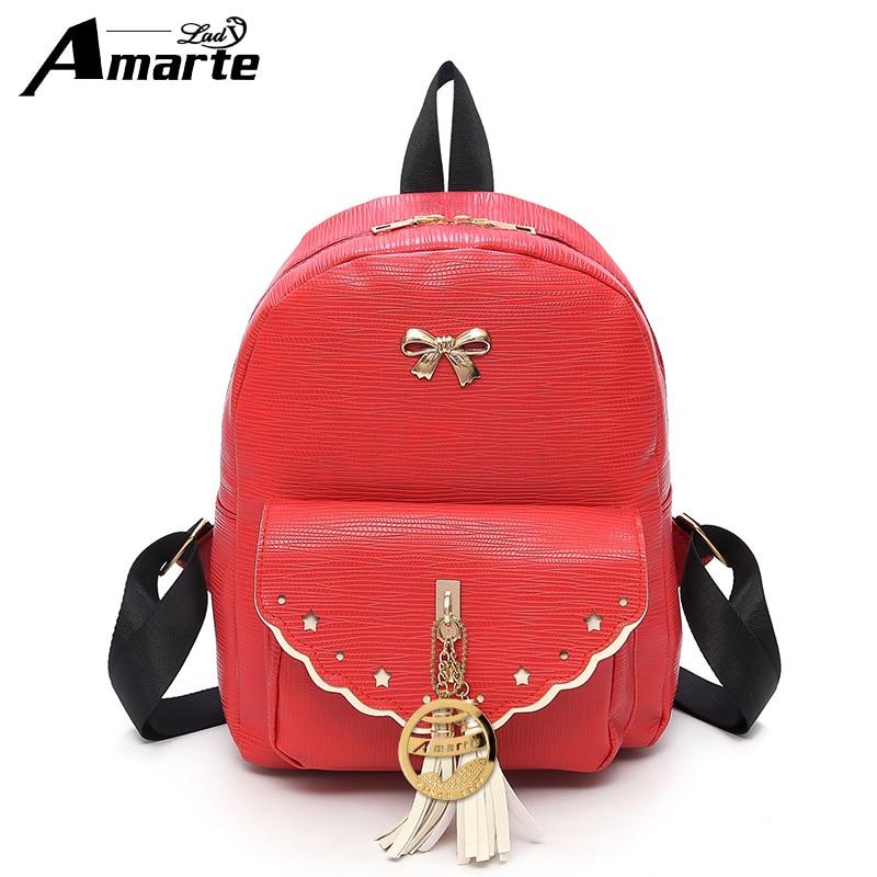 1c21784697 Amarte Women Small Backpack PU Leather Women Tassel Backpack Female Casual  Daypacks Cute School Bags for