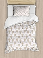 Balloon Duvet Cover Ethnic Inspirations with Swirls Hearts and Flowers Flying Hot Air Balloon Pattern, 4 Piece Bedding Set