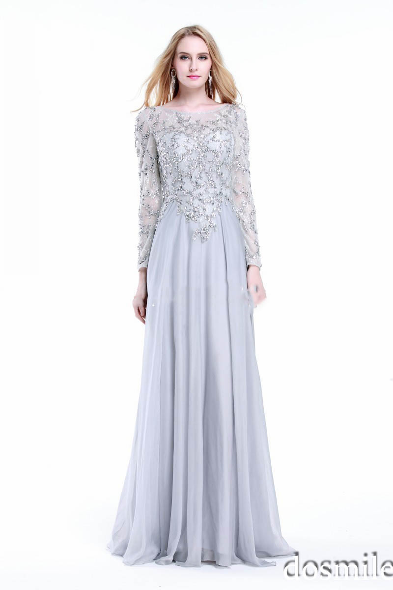 Silver Elegant Evening Dresses 2015 Long Sleeve A Line Chiffon ...