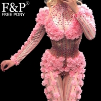 Sexy Pink Flower Rhinestone Bodysuit Jumpsuit Drag Queen Costumes Singer Stage Wear One piece Costume Stretch Outfits