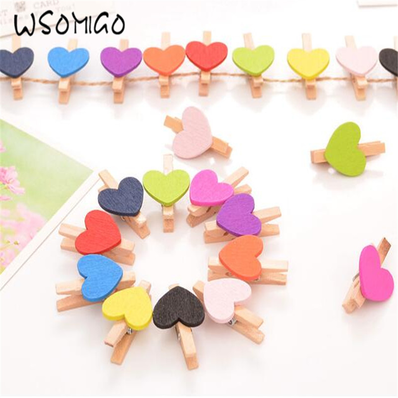 WSOMIGO Colorful Love Clips Photo Folder Clip Photo Wall Decoration DIY Party Decorations Wedding Decoration Photo Props-S