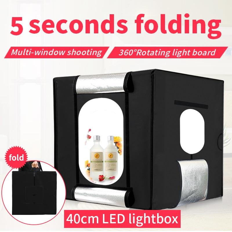 Livraison gratuite + 40 cm * 40 cm Studio soft box LED Lumière de Tir Tente photo boîte à lumière lichtbak photo tente ensemble + portable sac + 2 Toile de Fond