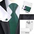 HN-830 Jacquard De Seda Dos Homens Gravata Listrada Verde saco caixa de Presente Conjunto de Gravata Lenço Abotoaduras Festa de Casamento de Negócios Laços Para Homens