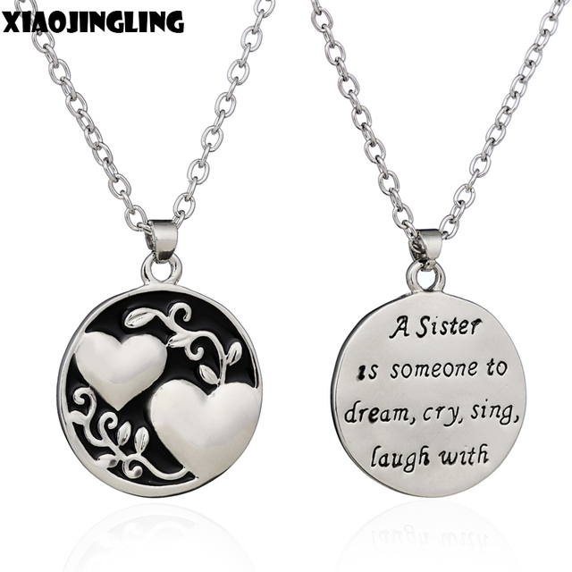Xiaojingling enamel best friend sister pendant chain necklace xiaojingling enamel best friend sister pendant chain necklace flower love heart double side necklace jewelry gift mozeypictures Image collections