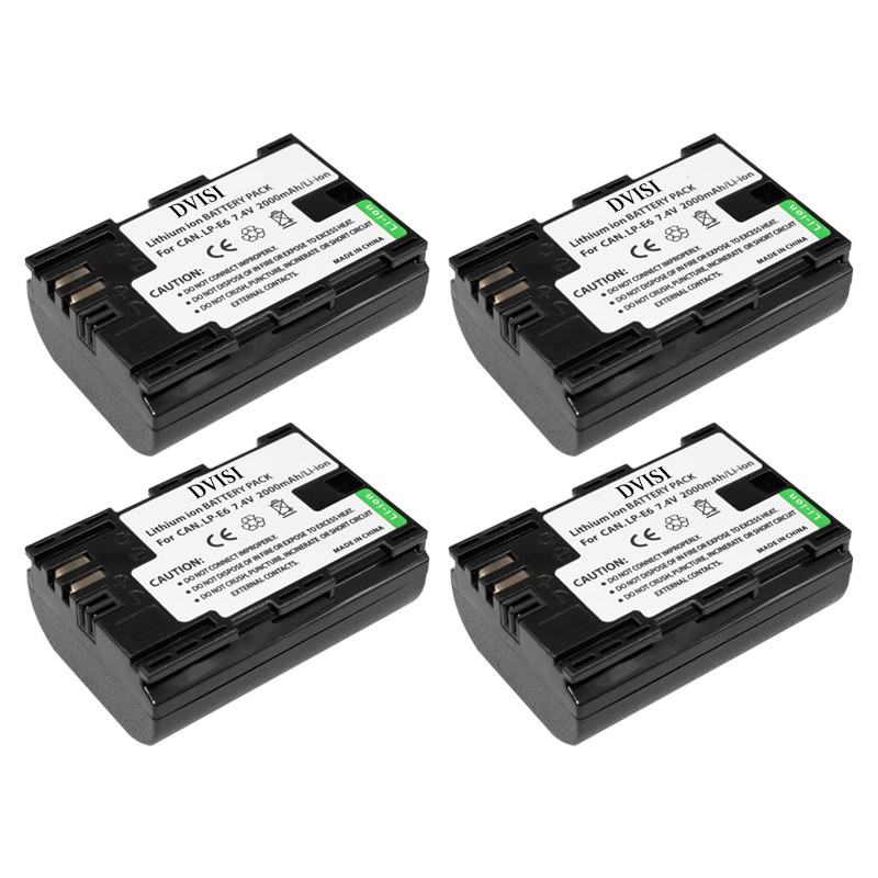 4Pcs 7.4V 2000mAh Bateria Da Câmera para Canon Mark II 80D 70D 5D LP-E6 7D Mark II 60D 6D 7D BG-E14 BG-E13 BG-E11 BG-E9 BG-E7 BG-E6