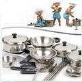 18 Conjunto Ferramentas de Cozimento de Aço Inoxidável Das Crianças Das Crianças Brinquedo Educação Jogo Brinquedos Acessórios de Cozinha Panelas Pot Pan