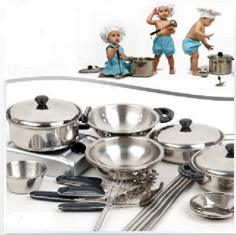 18Set Children Kids Stainless Steel Cooking Tools Play Education Kitchen  Accessories Toys Cookware Pot Pan Brinquedo