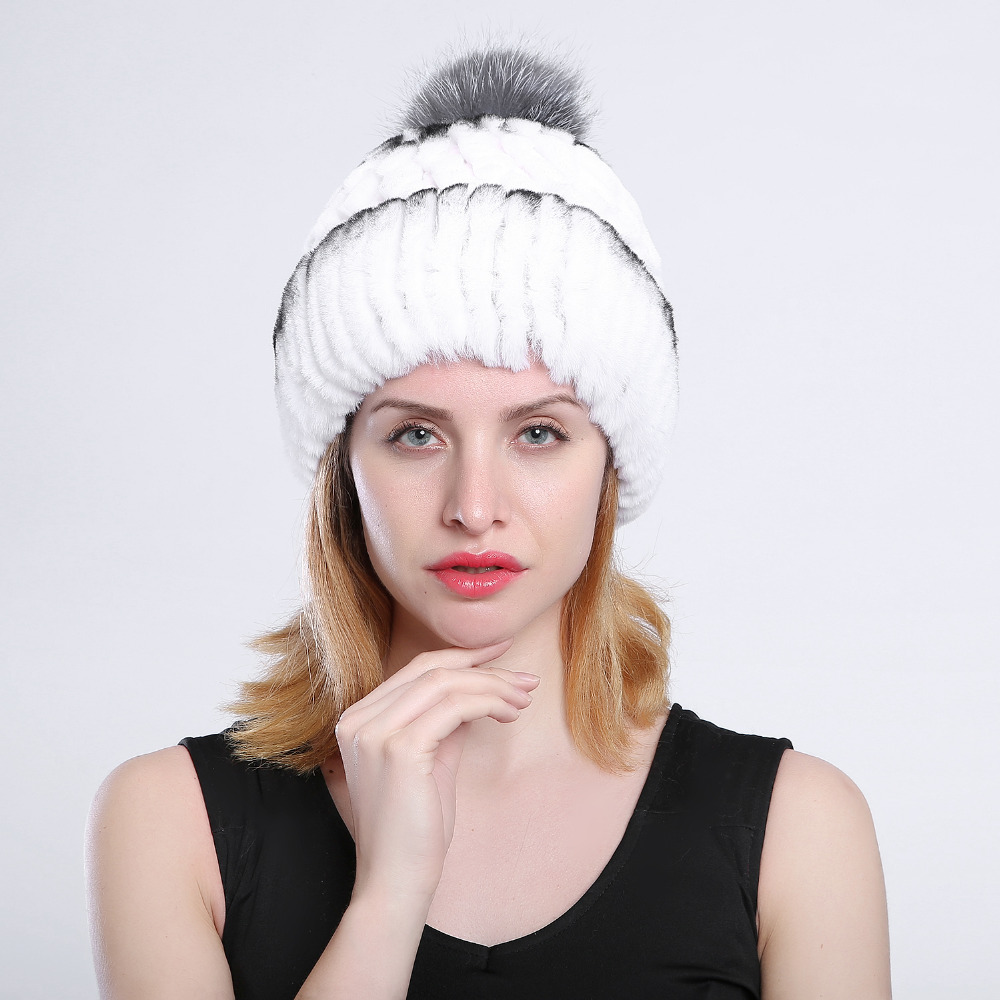 Winter fur hat for women real rabbit rex fur hat with fox fur English knitted caps 2017 novelty high quality baits