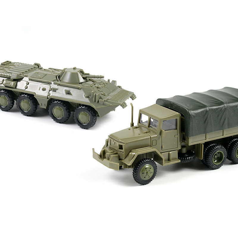 1:72 M35 Truck Soviet BTR 80 Wheeled Armored Vehicle Rubber-free Assembly Model Military Toy Car