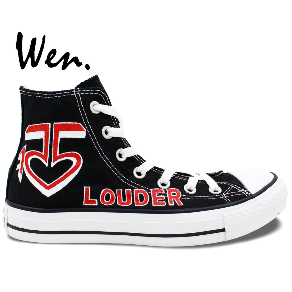Wen Design Custom Hand Painted Shoes Louder R5 Logo Men Womens High Top Canvas Sneakers for GiftsWen Design Custom Hand Painted Shoes Louder R5 Logo Men Womens High Top Canvas Sneakers for Gifts