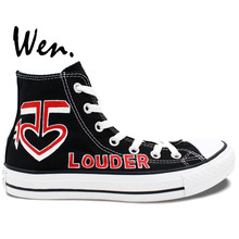 Wen Design Custom Hand Painted Shoes Louder R5 Logo Men Women's High Top Canvas Sneakers for Gifts