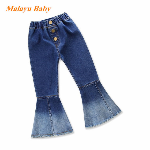 d72672a6564 Malayu Baby 2018 autumn New Kids Vintage Jeans Girls Jeans Bell bottoms  Children s Pants Spring and Autumn Outwear 2-6 years