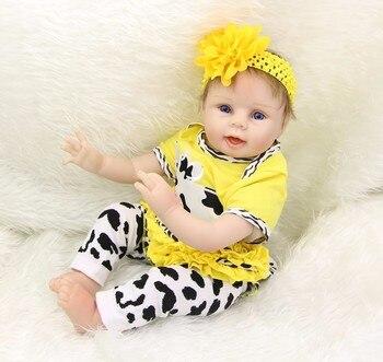 Boneca Reborn menina 22 Inch 55CM bebe Silicone reborn babies boy dolls Lifelike newborn  alive Doll gift for child