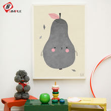 Nordic Cartoon Pear Canvas Art Print Poster Wall Pictures For child Room Nursery Fruit Home Decoration Print On Canvas No Frame(China)