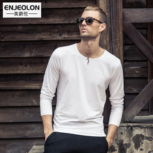 Enjeolon Brand top 2017 Mens Fashion t shirts Clothing For Man's Long Sleeve button fly T-Shirts Slim black Tops Tee RST1696-1