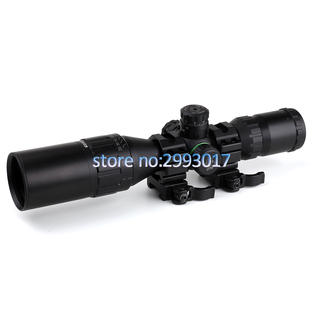 3-9x32 AO Hunting Optical 1inch Tube Mil-dot Compact Riflescope With Sun Shade and QD Rings Tactical Rifle Scope leapers utg 3 9x32 aolmq compact mil dot reticle hunting optics riflescopes locking w sun shade